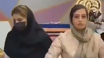 Judicial authorities arrest shop owner and several female models for not wearing hijab. Note: Picture is a screenshot from a video (Zenger News)
