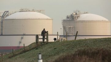The United States used its unique advantage in natural gas to retain its position as the world's leading producer of petroleum in 2020, with forecasted growth in exports of liquefied natural gas expected to continue as American companies search for new international gas trading partners. Pictured is a Liquefied Natural Gas (LNG) importation terminal on the Isle of Grain, England. (Photo by Peter Macdiarmid/Getty Images)