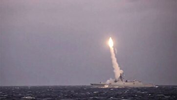 The first launch of the Tsirkon hypersonic missile from the Admiral Gorshkov warship in the White Sea on Oct. 6, 2020. (Russian Ministry of Defense/Zenger)