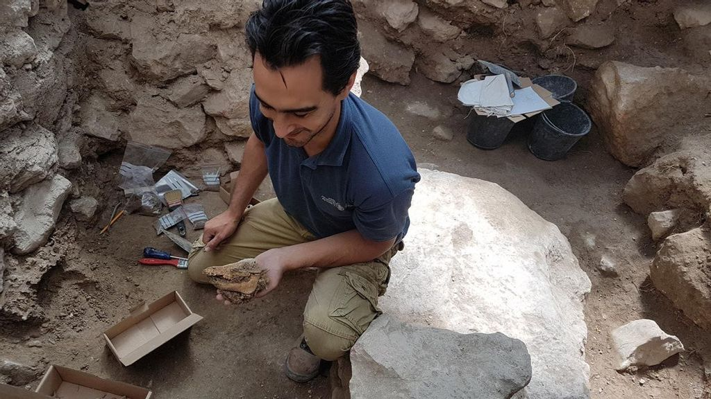 <p>An archaeologist finds pig remains at an Iron Age site in Jerusalem, ancient Kingdom of Judah. (Courtesy of Israel Antiquities Authority)</p>