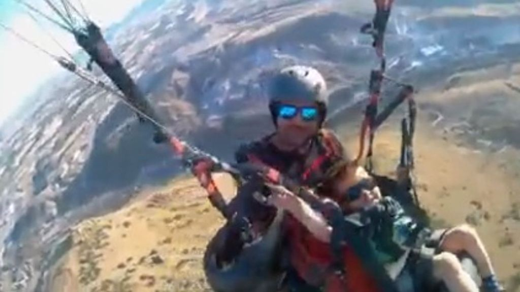 VIDEO: Air-Devil Dad: Paragliding Fan Takes Four-Year-Old Son On First Flight