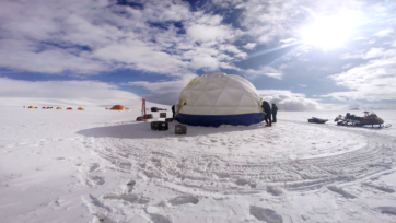 The drilling camp on the Guliya ice cap where the ice cores were taken. (Courtesy of Lonnie Thompson and the Byrd Polar and Climate Research Center/Ohio State University)
