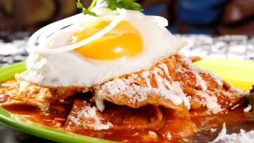 Red chilaquiles with eggs is a perfect breakfast dish. (Courtesy of Erika Miranda Melgoza)