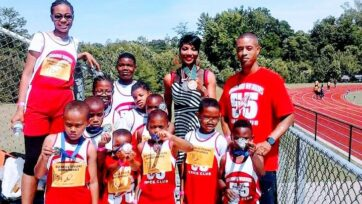 """Olympic gold and silver medalist Rochelle Stevens (center) hosts a track camp for youths in Memphis, Tennessee. """"More than 30,000 inner-city youth have taken part in our tracks meets and programs [overall],"""" Stevens said. (Courtesy of Rochelle Stevens)"""