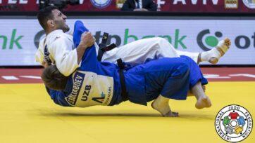 Iranian judoka Saeid Mollaei (in white) competing at the International Judo Federation's Grand Slam in Tel Aviv in February. (Sabau Gabriela/International Judo Federation)