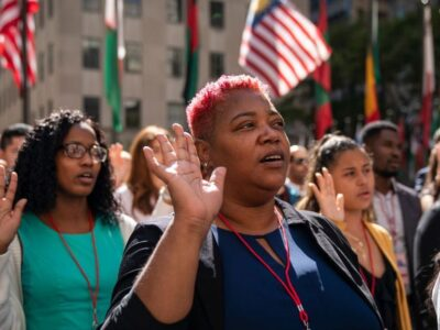 New U.S. citizens recite the the Oath of Allegiance during a naturalization ceremony at Rockefeller Center on September 17, 2019 in New York City. The U.S. business community is pushing for immigration reform to attract more workers and boost the economy. (Drew Angerer/Getty Images)