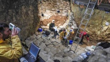 Overview of the excavation in the Hohle Fels Cave in Germany in July 2020. (N. J. Conard, University of Tubingen/Zenger News)