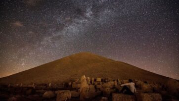 During overnight filming of Mount Nemrut in southeastern Turkey, drone artist Isa Turan captured this view of the Milky Way in his time-lapse drone video on July 10. (@jesus_tr/Zenger)