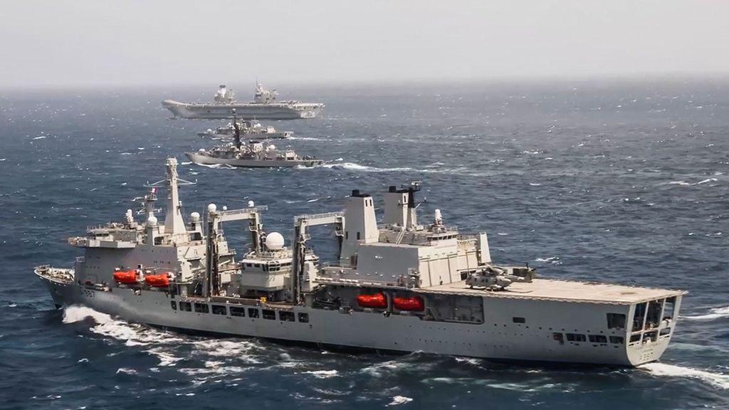 VIDEO: Flattop Flagship: UK's Queen Elizabeth Leads War Games Fleet With Indian Navy