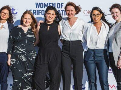 The six finalists in the 2021 Women of AgriFood Nation competition, (l-r): Ifat Hamer (Biotipac), Yosefa Ben-Cohen (Yo-Egg), Adi Polak (IncrediBowl), Anna Malkov (BugEra), Maya Ashkenazi-Otmazgin (Maolac) and Valeria Cogan (Fermata). (Photo by Itay Skaliter)