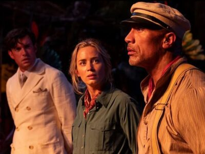 """From left, Jack Whitehall, Emily Blunt and Dwayne Johnson star in Disney's uninspired """"Jungle Cruise."""" (Disney)"""