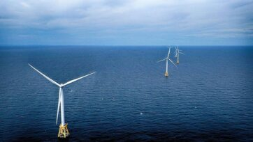 The nation's first offshore wind farm is 3 miles off the shore of Block Island, Rhode Island. The project began operations in 2016. (Wikimedia Commons)