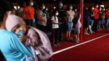Migrant shelters in Tijuana, Mexico, are experiencing a chickenpox outbreak, in addition to the problems related to COVID-19. (Mario Tama/Getty Images)