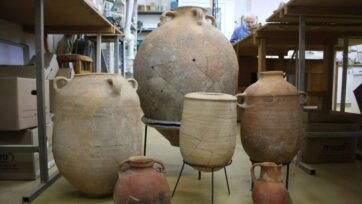 Shattered storage vessels after restoration by Joseph Bocangolz. (Ortal Chalaf/Israel Antiquities Authority)