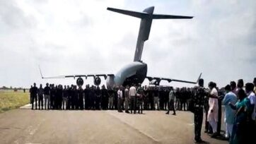 IAF C-17 evacuation flight from Kabul landing in Jamnagar with Indian officials on Tuesday. (ANI Image)