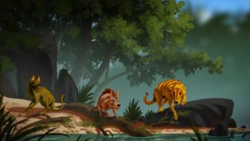 Artist's impression (left to right) of three newly discovered ancient species: Conacodon hettingeri, Minoconus jeanninae, Beornus honeyi. (Banana Art Studio)