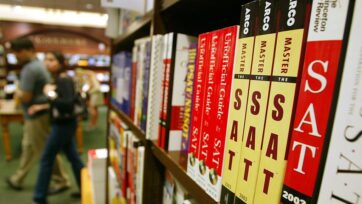 SAT test preparation books sit on a shelf at a Barnes and Noble store in New York City. (Mario Tama/Getty Images)