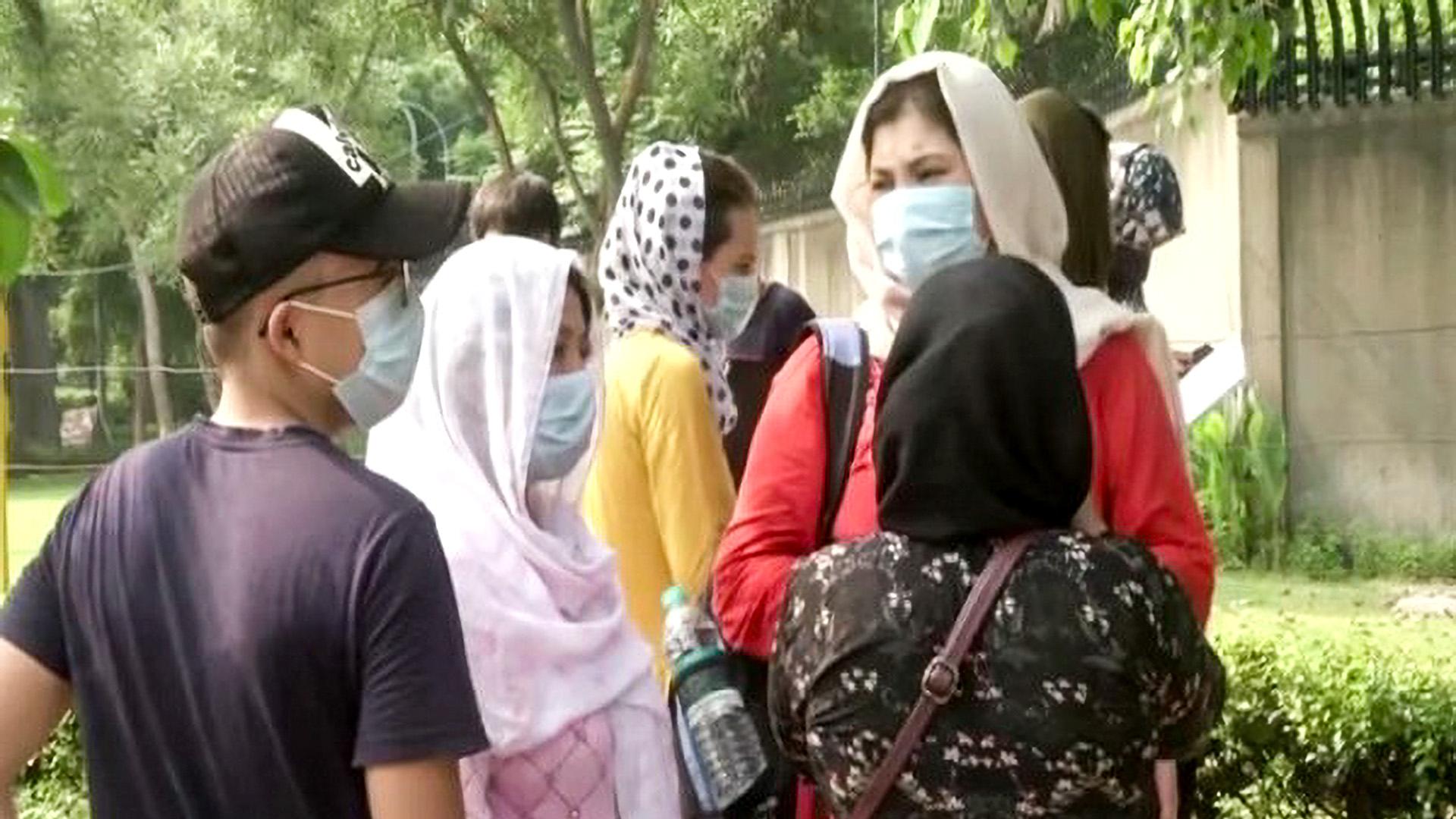 Afghan Nationals Gather Outside Australian Embassy In New Delhi Seeking Visas