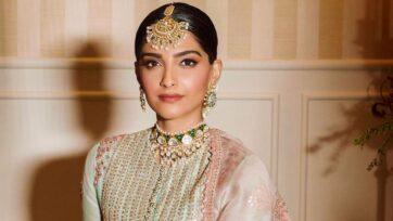 Sonam Kapoor looked stunning in Indian ethnic wear at sister Rhea Kapoor's wedding. (Sonam K Ahuja, @sonamkapoor/Instagram)