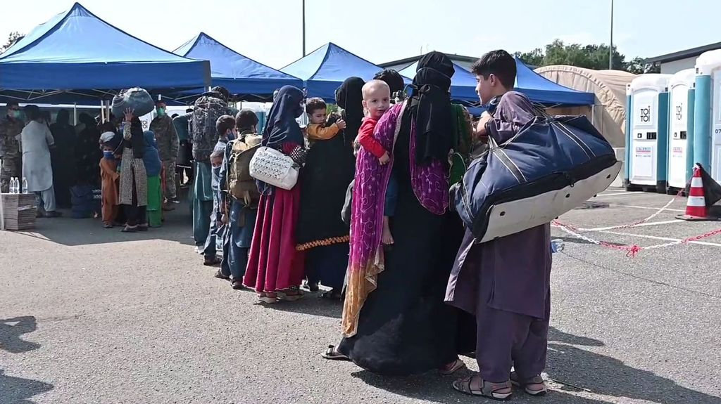Ramstein Air Base in Germany is providing temporary lodging for evacuees from Afghanistan as part of Operation Allies Refuge, 21st August 2021. Note: This picture is a screenshot from the video. (DVIDS/Zenger News)