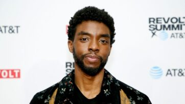 """The late Chadwick Boseman was recently honored by his wife Simone Ledward and """"Black-ish"""" actor Anthony Anderson during the Stand Up to Cancer fundraising telethon event on Aug. 21, 2021. (Phillip Faraone/REVOLT/Getty Images)"""