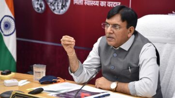 Union Health Minister Mansukh Mandaviya on Tuesday announced that COVID-19 vaccination slots can now be easily booked on WhatsApp. (Press Information Bureau)
