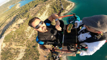 A chef grilled a hamburger for him and the man who took him on a paragliding adventure over the southern coast of Turkey. (Onur Avcu/Zenger)