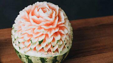 Food art created on a watermelon by Szimonetta Zombori. (Sisi Food Sculptor/Zenger)