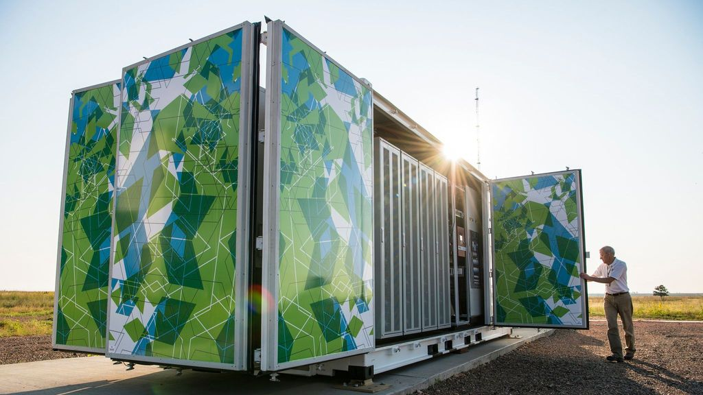 <p>This Flex-manufactured enclosure holds a one megawatt lithium-ion battery system used by the National Renewable Energy Laboratory at its National Wind Technology Center in Arvada, Colo. (U.S. Department of Energy)</p>
