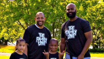 """""""The Family Unit"""" clothing line co-creators Roy Williams Jr. (above, second from left) and Xavier Elder-Henson (right) with Ariella Williams and Cameron Elder-Henson, are """"black fathers trying to build a legacy for their children,"""" said Xavier Elder-Henson. (Courtesy of Roy Williams Jr.)"""