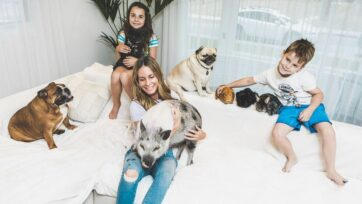 Melissa Cristofaro Trihey with her children and a few of their 14 pets, at home in Montreal, Canada. (@furballsinc/Zenger)