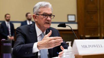 strongJerome Powell, presidente de la Junta de la Reserva Federal, ha pintado una visión positiva de la economía. (Graeme Jennings-Pool/Getty Images)/strong