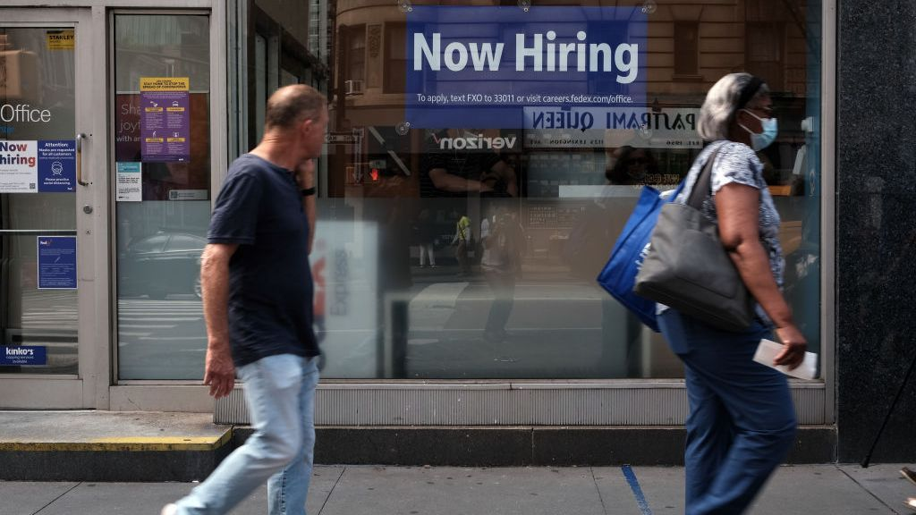<p>Even as help wanted signs are posted, the August jobs report showed a sharp drop in new employment, surprising many economists. It is the slowest job growth in eight months. (Spencer Platt/Getty Images)</p>