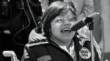 Judith Heumann at the 504 Sit-in at HEW's San Francisco office in 1977, which she helped lead, lasted nearly a month. It led to the signing into law of Section 504 of the Rehabilitation Act, the first U.S. federal civil rights protection for people with disabilities. (Courtesy of Judith Heumann)