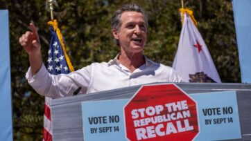 Gov. Gavin Newsom addresses a Stop the Republican Recall rally as he campaigns with Sen. Elizabeth Warren at Culver City High School on Sept. 4, 2021. (David McNew/Getty Images)