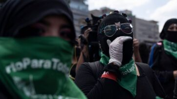 Protesters march in support of decriminalizing abortion in Mexico City, on September 28, 2020. (Toya Sarno Jordan/Getty Images)