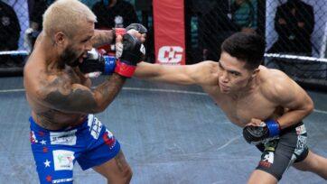 """strongDavid """"Black Spartan"""" Martínez (derecha) y Francisco Rivera Jr. durante su pelea el 30 de mayo de 2021. Martínez ganó por nocaut en la segunda ronda, para llevarse un torneo de peso gallo de ocho hombres, producido por Combate Global en Miami. (Combate Global)/strong"""
