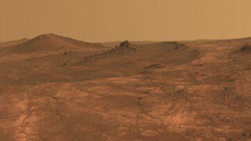 Un nuevo tipo de concreto hecho a base del polvo marciano, más la sangre, sudor y lágrimas de los astronautas podría usarse para la elaboración de viviendas en futuras misiones tripuladas al planeta rojo. (NASA/JPL-Caltech/Universidad de Cornell/Universidad Estatal de Arizona)