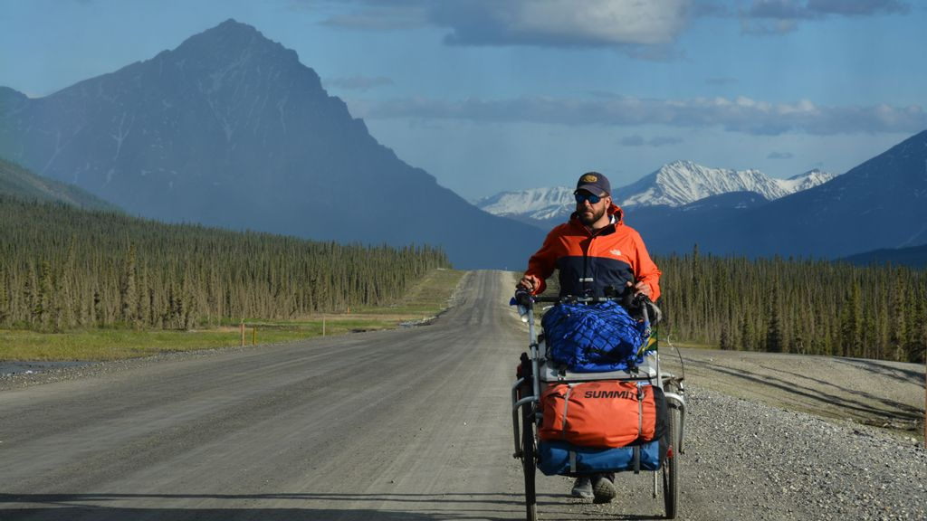 <p><strong>Brazilian Matias Tartiere hopes to walk the world. Today, he's on Alaskan highways. (Courtesy of Matias Tartiere)</strong></p>