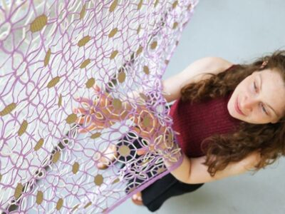 Ganit Goldstein displaying her conductive textile at her Royal college of Art graduation, July 25, 2021. (Courtesy of Ganit Goldstein)