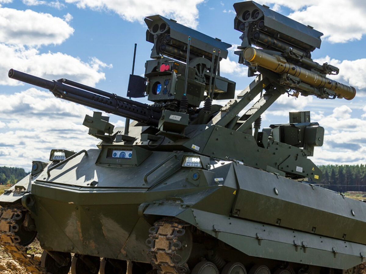 The Uran-9, a high-tech tracked unmanned combat tank, was used during the Zapad-2021 military exercises run by Russia and Belarus that ended on Sept. 16. (Ministry of Defence of the Russian Federation/Zenger)