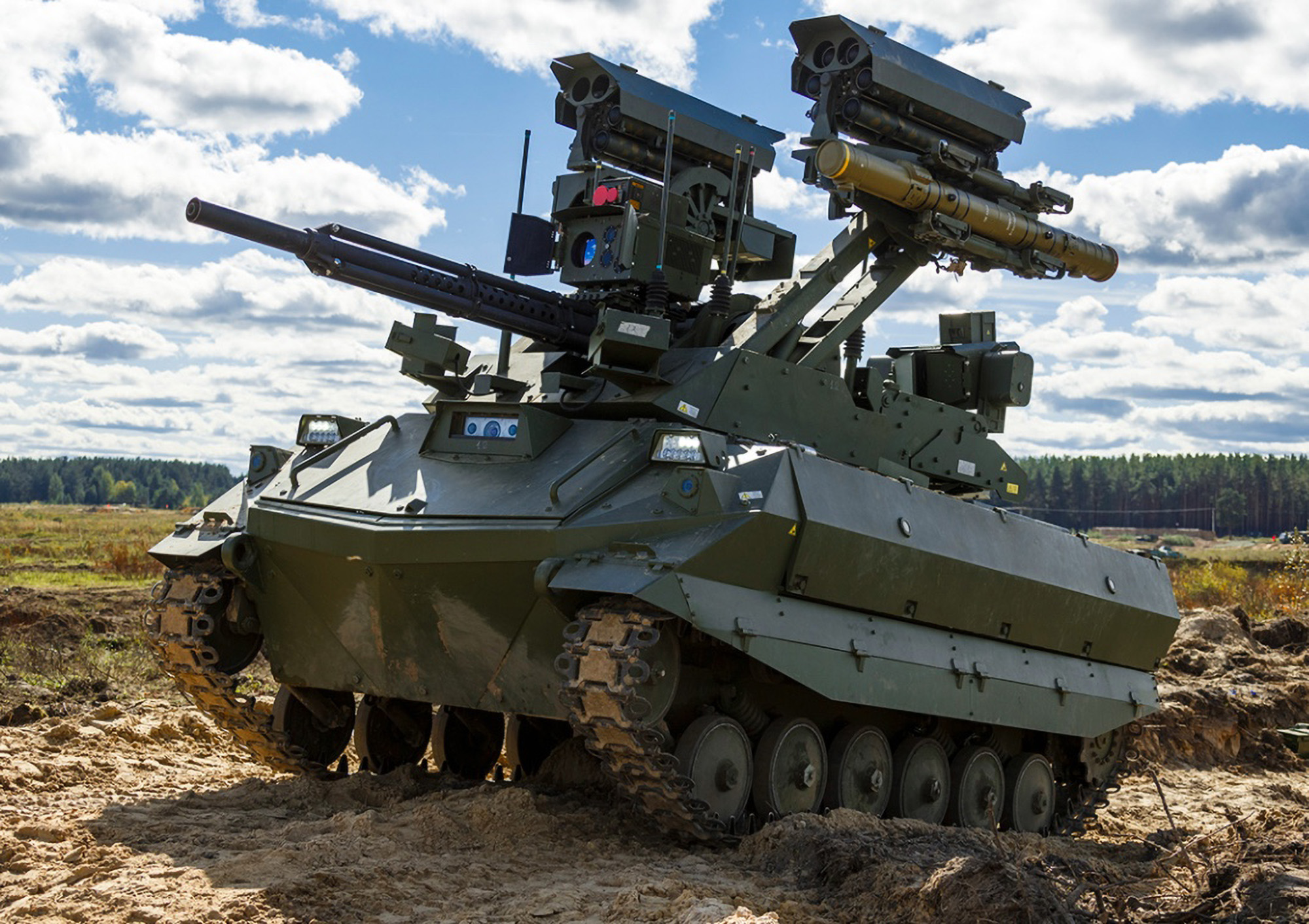 <p>The Uran-9, a high-tech tracked unmanned combat tank, was used during the Zapad-2021 military exercises run by Russia and Belarus that ended on Sept. 16. (Ministry of Defence of the Russian Federation/Zenger)</p>