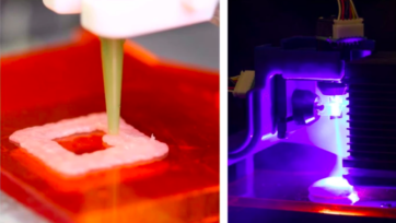On the left, a 3D printer extrudes raw chicken onto a plate; on the right, a blue laser beam is directed at a sample of raw chicken after the printer deposits it. (Jonathan Blutinger/Columbia Engineering)