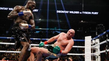 Deontay Wilder (left) twice floored lineal champion Tyson Fury in their first bout in December 2018, retaining his WBC heavyweight title via a split-decision draw. Fury twice floored and eventually dethroned Wilder in their February 2020 rematch. They clash a third time on Oct. 9. (Ester Lin/Showtime)