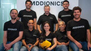 """The Addionics team. """"It's a very ambitious goal, to change the architecture of batteries, which hasn't been changed in the last 30 years,"""" says CEO Moshiel Biton. (Courtesy of Addionics)"""