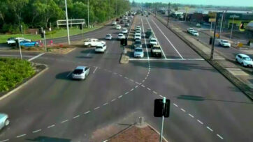 A white pickup truck (upper left) shoots across busy traffic in Northern Territory, Australia. (Northern Territory Police, Fire and Emergency Services/Zenger)
