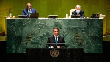 President Bolsonaro's speech at the United Nations on Sept. 21 was intensely criticized back home for presenting a false reality of Brazil. (Alan Santos/PR/Public Domain)