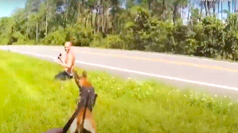 Cpl. Colton Sullivan and K-9 Adelmo apprehended Billy Joe Bishop, who is charged with battery on a person 65 years of age or older, battery, resisting an officer without violence, and tampering with a witness or victim. (Marion County Sheriff's Office/Zenger)