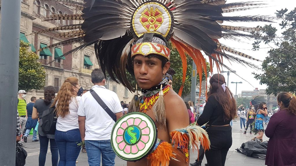 Aztec Dancers In Mexico City's Zócalo Celebrate Nature In Their Rituals