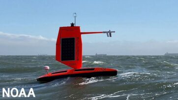 Five specially designed saildrones gather data around the clock to help understand the physical processes of hurricanes in the Atlantic Ocean. (NOAA, Saildrone/Zenger)